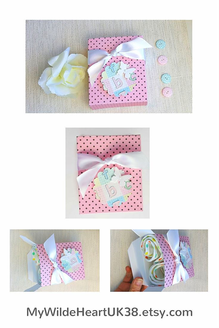Pretty gift box for a newborn baby girl - fits two standard sized bibs (which are also available with the box).  Sweet baby shower gift.  Click through to my shop  #giftbox #newborngirl #babygirl #babygift