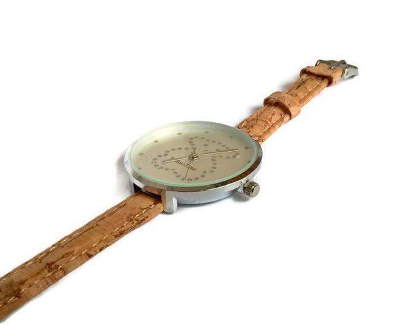 Cork watch cork wristwatch Portuguese cork jewelry cork by Kortici