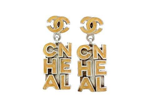 Vintage Chanel stud earrings CC logo dangle by Chanel | Vintage Five