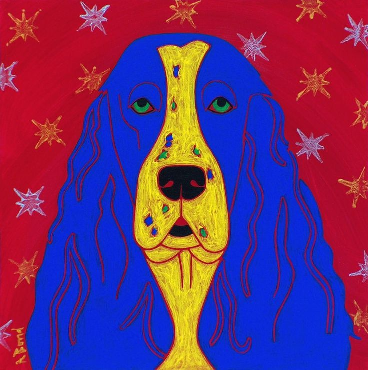 "Pop Art Dog Springer Spaniel - Colorful Dog Art - Angela Bond Art. ""Jerry's Springer IV"" This is a limited edition reproduction of one of my pop art paintings. Angela Bond @ 2007 =============================================================== *mat size - 11"" X 14"" (white mat) *print size - 7"" X 7"" *high quality MATTED print using Epson heavy weight matte paper and Epson inks *signed, titled and numbered =============================================================== www.angelabondart.com."