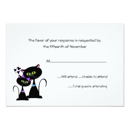 Whimsical Cats Wedding RSVP Card