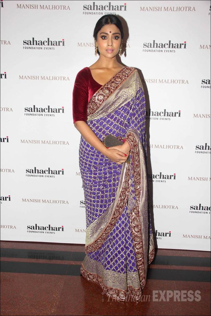 Shriya Saran at the launch of Manish Malhotra's new collection titled, 'The Regal Threads'. #Bollywood #Fashion #Style #Beauty #Desi #Saree