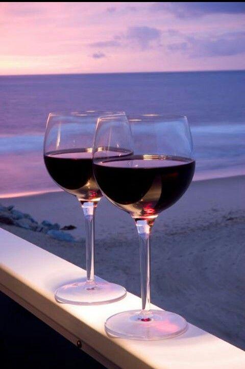 Red wine...sunset...beach...perfect!