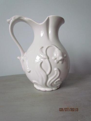 Large Vintage Royal Haeger Pottery White Pitcher Raised