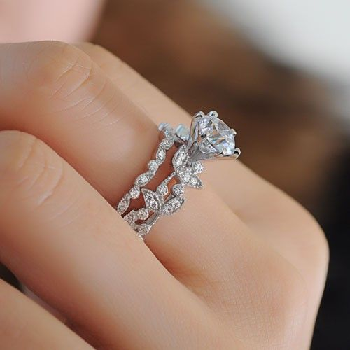 unique leaf design 925 sterling silver white gold plated womens engagement ringwedding ring - Engagement Ring And Wedding Ring