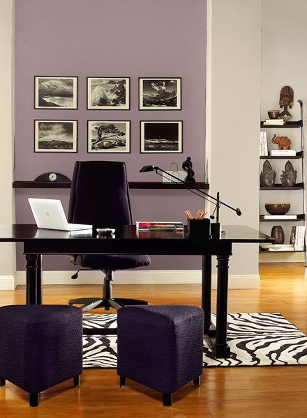 Gray and purple home office color scheme.  BM Paints accent wall: mauve blush 2115-40 back wall & columns: collingwood OC-28 accent: tulsa twilight 2070-10
