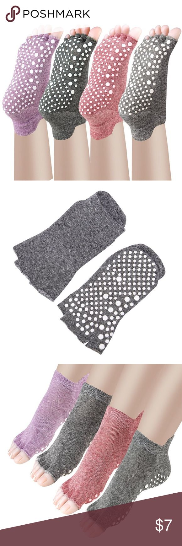 Sale Yoga socks Available in purple, dark green, and dark grey. Please specify which color you would like. BRAND NEW IN PACKAGING. Non-slip toeless socks designed for yoga. Fits Size 5-9 women's.  MATERIAL: 80% Cotton 18% Polyester 2% Spandex. Premium cotton absorbs sweat and keeps your feet comfortable fit. Working as womens yoga socks, barre socks, pilates socks, ballet barres socks, dance socks, toeless socks. Sale lasts24 hours! Other
