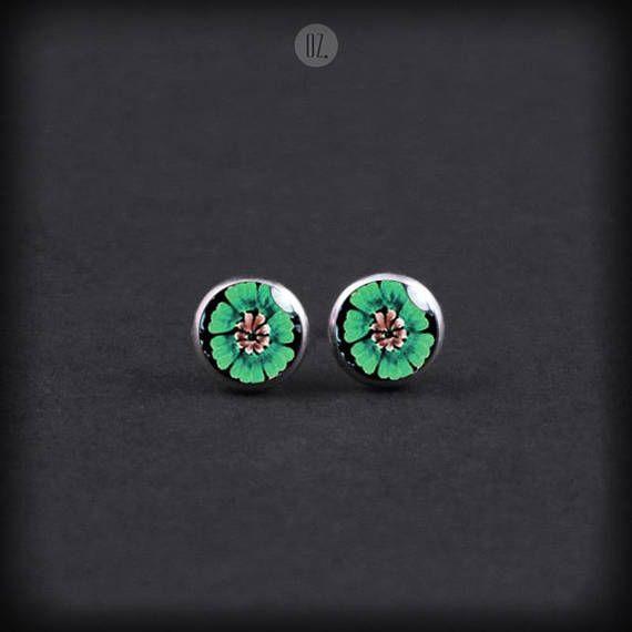 Studs Mint Green Flowers Mini handmade folk jewelry from