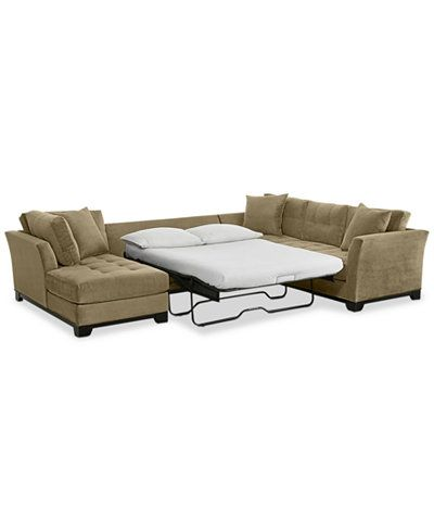 Elliot 3-Pc. Microfiber Sectional with Full Sleeper Sofa & Chaise, Created for Macy's