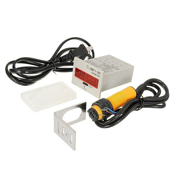 Bricolaje 100-240v ac 6 contador de digital LED + fotocélula + bandas kit de transportadoras de reflector