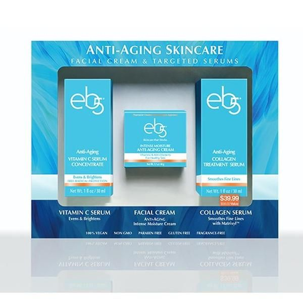 A skincare system containing an anti-oxidant and vitamin rich Facial Cream, a brightening and protective Vitamin C Serum and a peptide enhanced Collagen Serum to boost skin's collagen production and help smooth fine lines.   - Individual Retail Value $58.00  - 1 oz Vitamin C Serum - 1.7 oz Facial Cream - 1 oz Collagen Serum