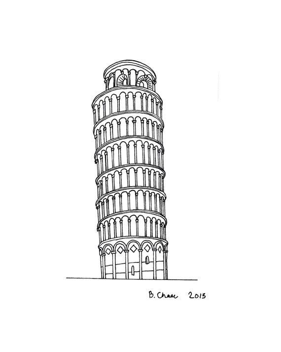 The Leaning Tower of Pisa print of an original illustration
