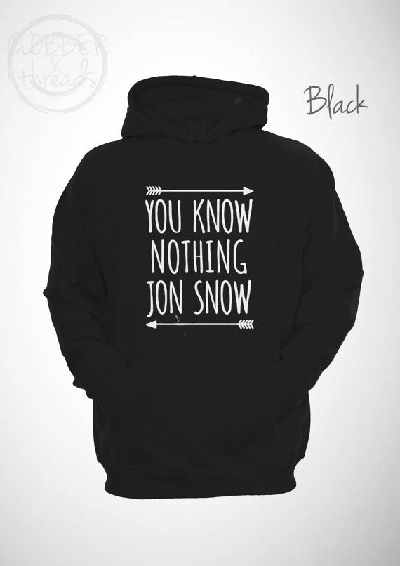 You Know Nothing Jon Snow Hoodie Hipster by ClobberAndThreads