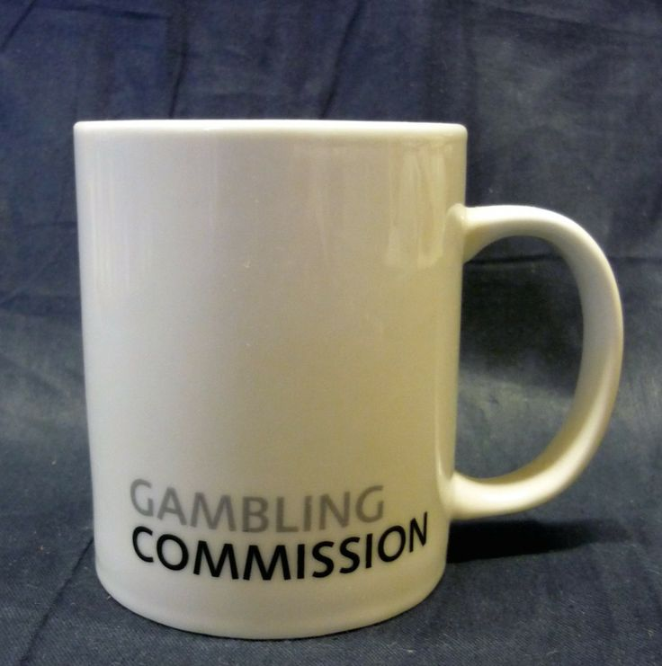 Custom printed mug produced by Banks Pottery for Gambling Commission