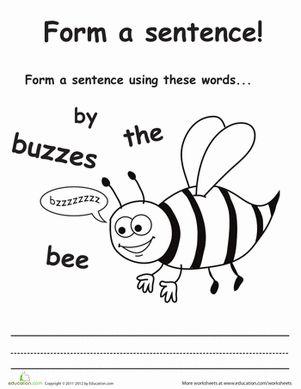 Make a Sentence: 1st Grade Worksheets | Education.com ...
