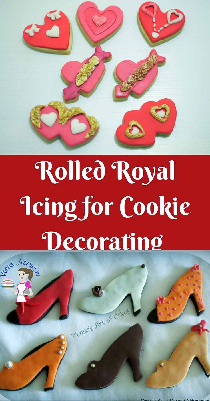 Rolled Royal Icing makes a perfect replacement for decorating cookies when you don't want to use the traditional method of outline and fill cookies with royal icing. This can be rolled and draped over a cookie like fondant but dries hard like royal icing. Works great for cookie decorating in hot and humid conditions.