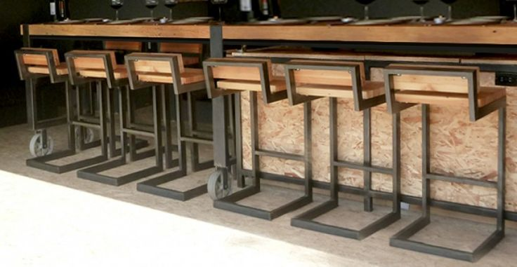 Rolling Industrial Bar and Stools