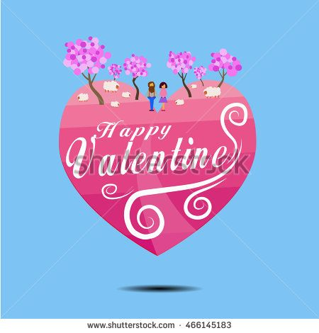 Happy valentine day poster with pink hearth symbol, tree, sheep and couple…