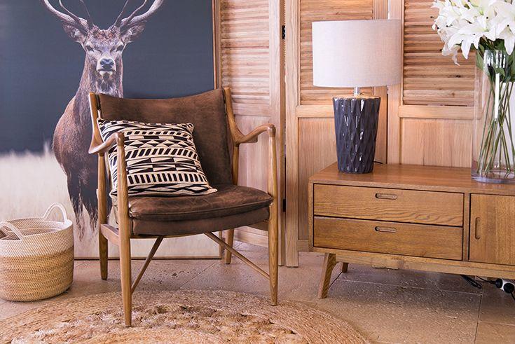 Juno Armchair - Premium Top Grain Leather w/ Solid Ashwood | Meadow Deer Framed Print | Seoni Jute Rug | Rattan Basket Set | Buy at Schots in Melbourne & Geelong, Australia