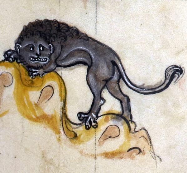 Трусливый лев. Cowardly lion, 'The Rutland Psalter', England ca. 1260 (British Library, Add 62925, fol. 23r)