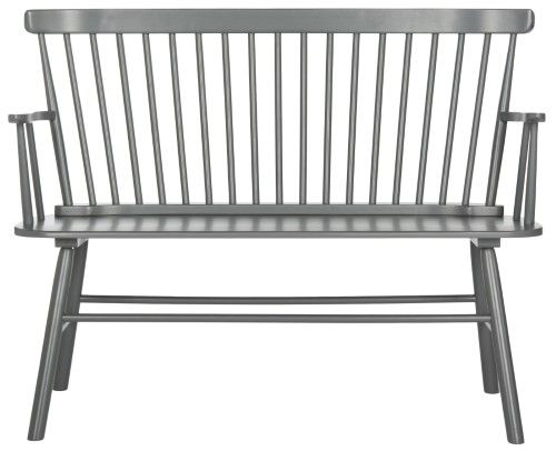 Addison Spindleback Settee Grey Accent Bench Furniture