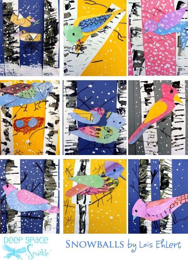 JAN 4 - Winter-Bird-art-lesson based on Lois Ehlert's book, Snowballs