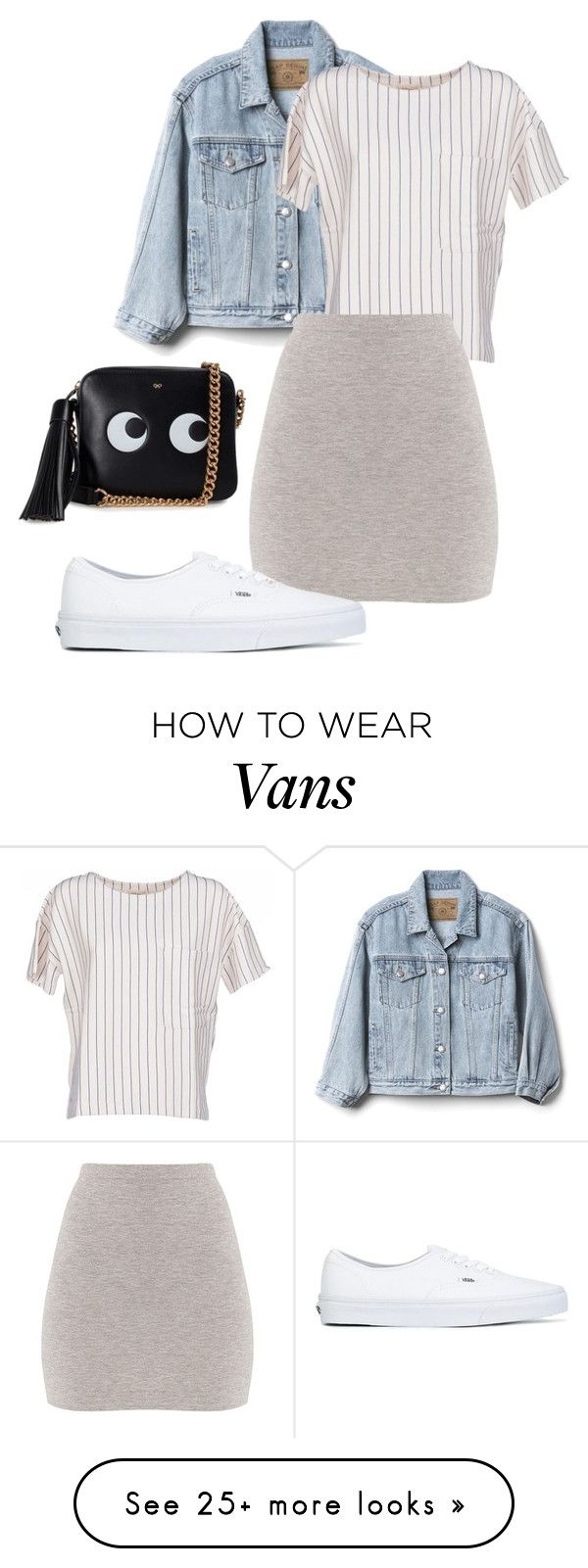 """Basic & Cute ☀️"" by ghuus15 on Polyvore featuring Gap, BELLEROSE, BasicGrey, Vans and Anya Hindmarch"