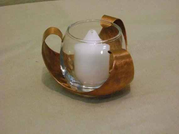 Antique Finish Copper & Glass Candleholder by DennisRJensen