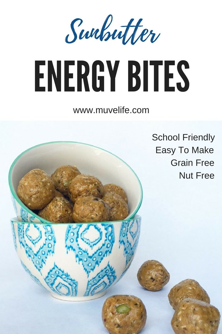 Fun and easy to make, nut-free grain-free energy bites. School friendly and great for a snack on the go without a major sugar hit.  YUM YUM!!
