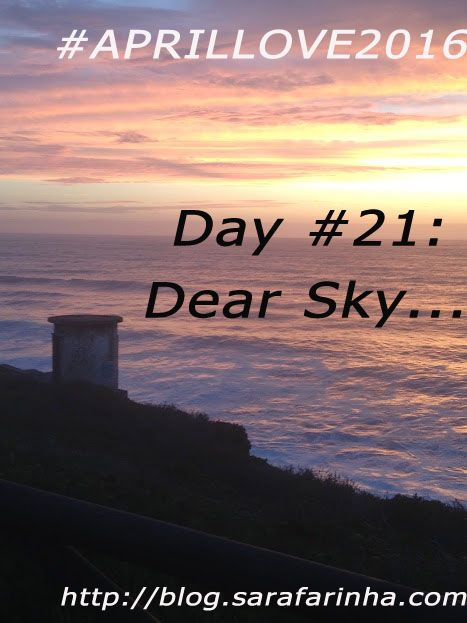 """""""Dear Sky, (…) Some of us are scared to be caught openly staring at you. Not me. I love to see your beauty. It reminds me of how small we are, and insignificant (in all of our drama) in the grand scheme of things. We are here. We are mostly alone. The world doesn't spin around us. Let us appreciate you while we can."""" #APRILLOVE2016"""