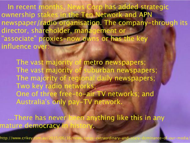MURDOCH EVIL EMPIRE CREATES MORE TENTACLES TO STRANGLE OUR DEMOCRACY IN AUSTRALIA AND SUPPORT HIS EVIL OVERLORD TONY ABBOTT. WE MUST STOP HIM BY BOYCOTTING ALL THE PRODUCTS OF HIS EMPIRE. Photo by Philip's Political Analysis
