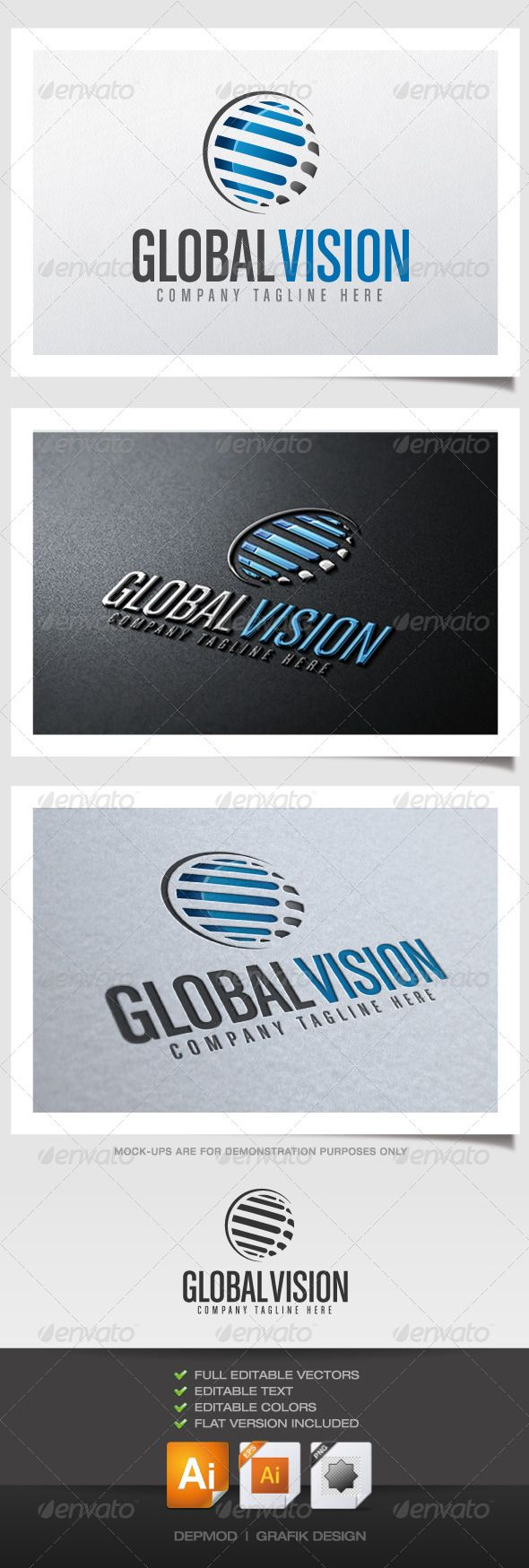 Global Vision Logo — Vector EPS #ribbons #security • Available here → https://graphicriver.net/item/global-vision-logo/4408181?ref=pxcr