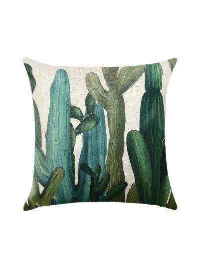 Green Plant Print Pillowcase Cover