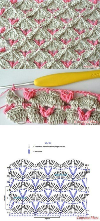 2 coloured crocheted fan stitch