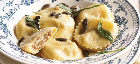 Raviolis au boudin blanc et graines de courge grillées #pasta