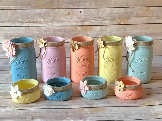 Business Card Holder Mason Jar Set Painted Mason Jars Chalk Painted Mason Jar Cosmetic Holder Bathroom Decor Desk Accessories Mason Jar Diy Mason Jar Crafts Decorated Jars