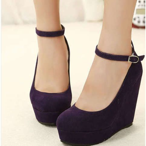 This kind of shoes is very sexy and fashionable.High-heeled wedge with buckle design  makes your more elegant.  Details: Color : Black, Purple Weight : About 1500g Toe Shape : Round Toe Toe Style : Closed Toe Heel Type : Thin Heel Heel Height : 13cm Platform Height : 4cm Upper Material and i love this color