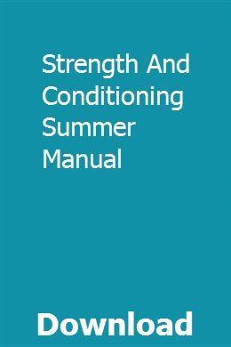 Strength And Conditioning Summer Manual | vicpienonti