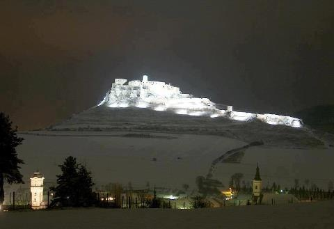 Spis Castle, Slovakia, in winter at night