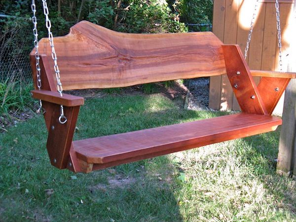 "48"" wide Leopold-inspired swing in black cherry with a natural edge back"