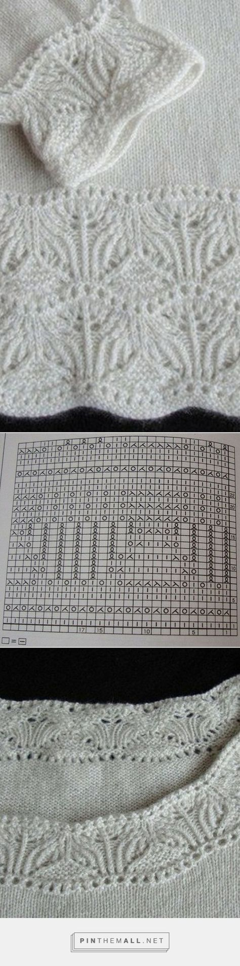 Lace knitting pattern worked as border on sleeve cuffs, neck and waist of a stockinette sweater; chart ~~