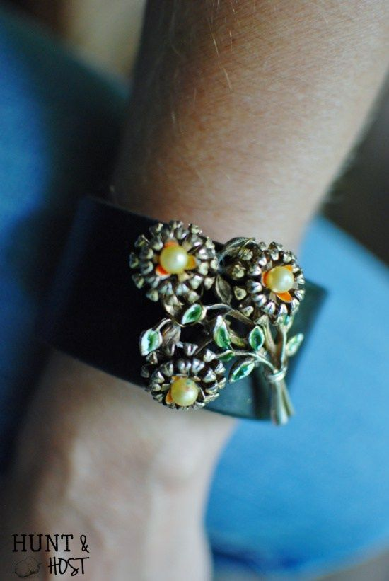 Make your own jewelry with this easy DIY brooch bracelet tutorial. Update treasures of the past into fashion forward jewelry!