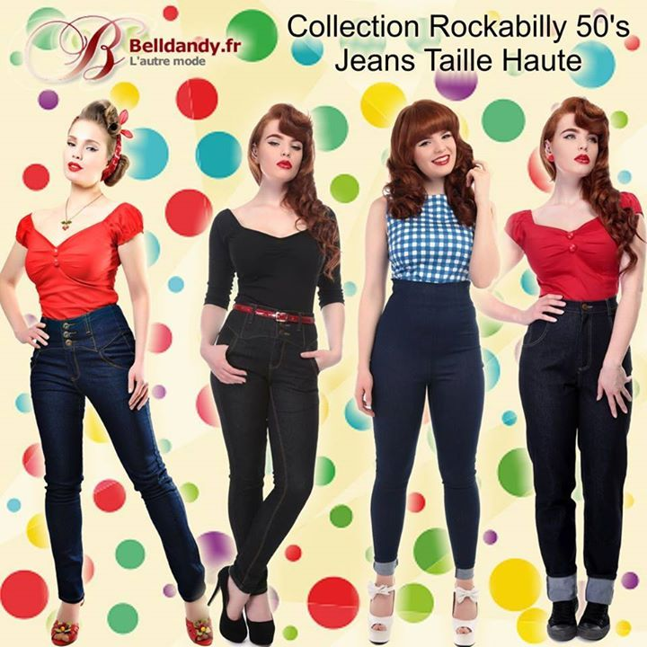 Collection Rétro Pin-Up Rockabilly 50's - Jeans Taille Haute http://www.belldandy.fr/catalogsearch/result/?q=jeans...