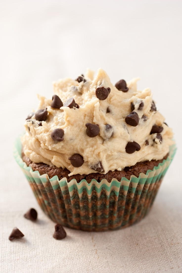 Brownie cupcake with chocolate chip cookie doe frosting