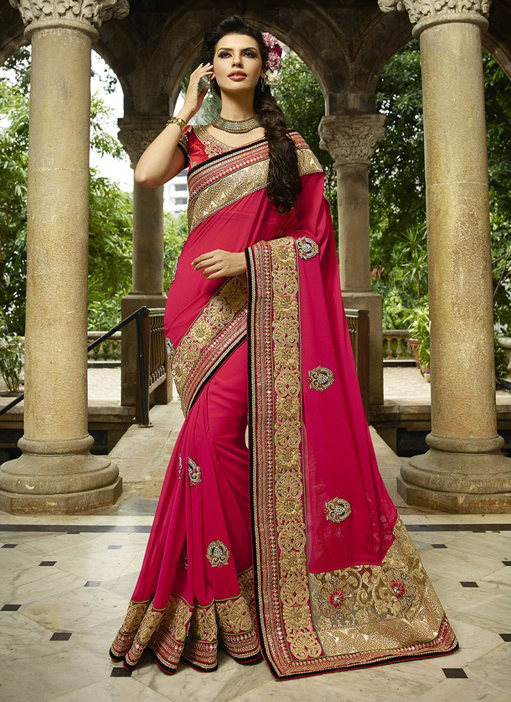 #Pink Colour #Net & #Georgette #Saree. Lovely #floral #embroidery and #exotic #colours come together to define this #beautiful #saree.  Contact to Buy : +91-9377111620