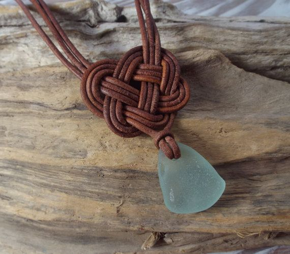 Uh, Alli, really?! Scottish SeaGlass and  Leather Celtic Knot Necklace - Made to Order -Seaglass -Surfer Necklace -Beachwear-Etsy seller on Etsy, $20.00