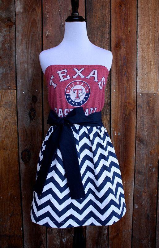 Texas Rangers Baseball Strapless Game Day Dress on Etsy by jillbenimble