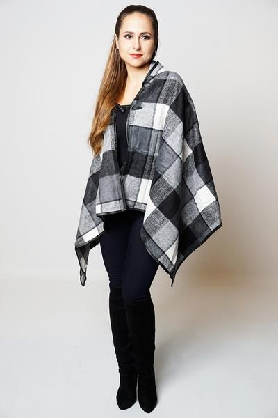Perfect autumn winter wearAvailable in different coloursOne Size (U.K 8-18, EU 36/46, US 4/14) Asymmetric check detail hooded cape poncho All over soft thick kn