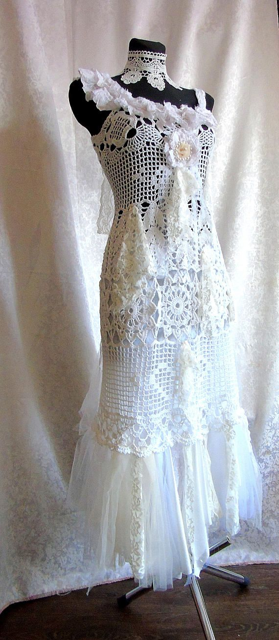 Ready to ship. Size XS, S, M Boho wedding dress tattered wedding dress shabby ragged woodland fairy forest one of a kind dress. This dress is unique - one of a kind. The gown is crocheted from cotton. Decorated with tulle, lace, ribbons, flower. White petticoat made of cotton. I have added