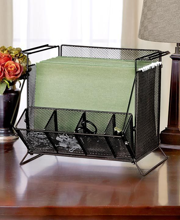black mesh desktop hanging file folder organizer sort office desk decor